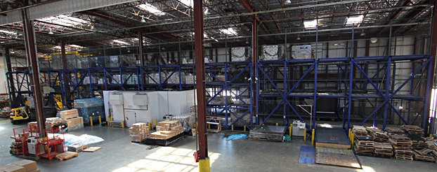 Three story ULD roller rack system with capacity for 120 Units